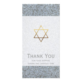 Golden Star of David Stone 2 Sympathy Thank You Card