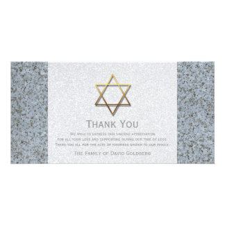 Golden Star of David Stone 3 Sympathy Thank You Card