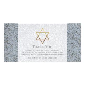 Golden Star of David Stone 4 Sympathy Thank You Card