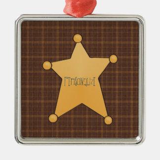 Golden Star Sheriff's Badge Metal Ornament
