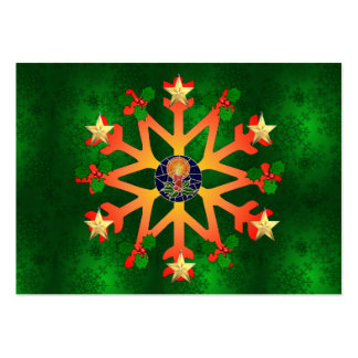 Golden Star Snowflake Large Business Cards (Pack Of 100)