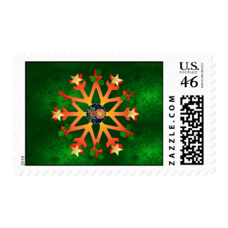 Golden Star Snowflake Stamps