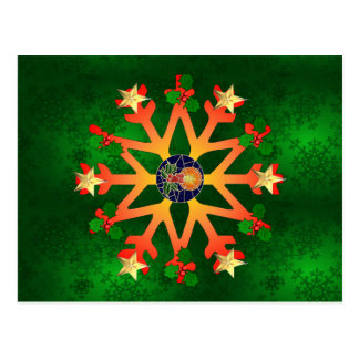 Golden Star Snowflake Postcard