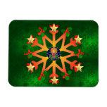 Golden Star Snowflake Rectangular Magnets