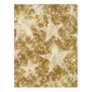 Golden Star Sparkles Christmas Holydays Postcard