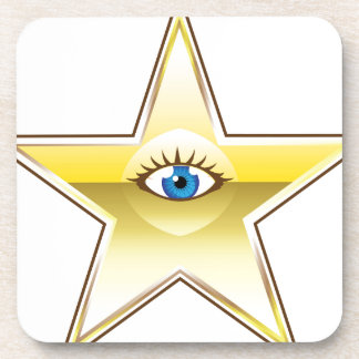 Golden Star with an Eye Vector Drink Coaster