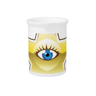 Golden Star with an Eye Vector Drink Pitcher