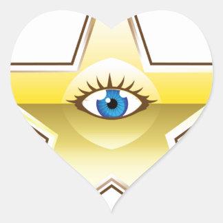 Golden Star with an Eye Vector Heart Sticker