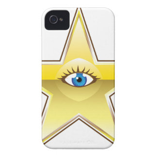 Golden Star with an Eye Vector iPhone 4 Cases