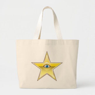 Golden Star with an Eye Vector Large Tote Bag