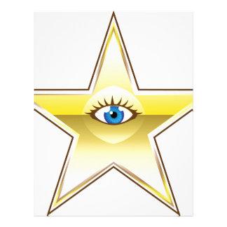 Golden Star with an Eye Vector Letterhead