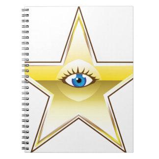 Golden Star with an Eye Vector Notebook