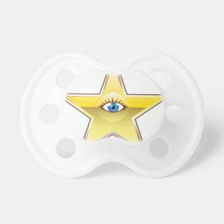 Golden Star with an Eye Vector Pacifier