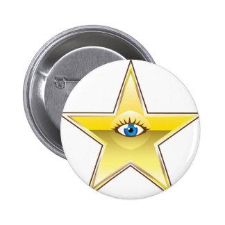 Golden Star with an Eye Vector Pinback Button