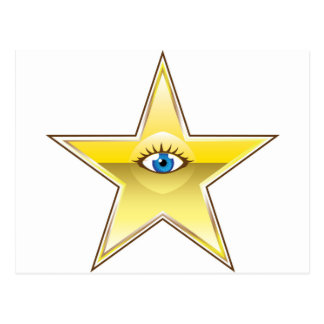 Golden Star with an Eye Vector Postcard
