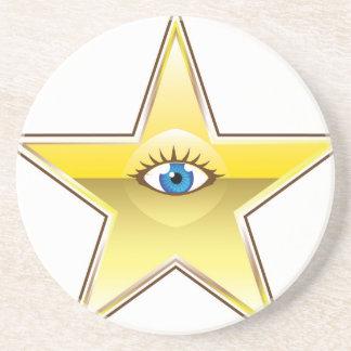 Golden Star with an Eye Vector Sandstone Coaster