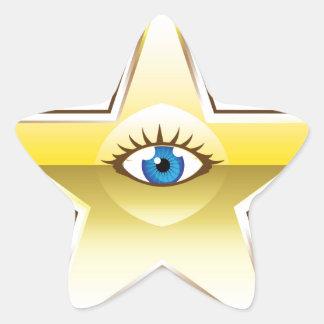 Golden Star with an Eye Vector Star Sticker