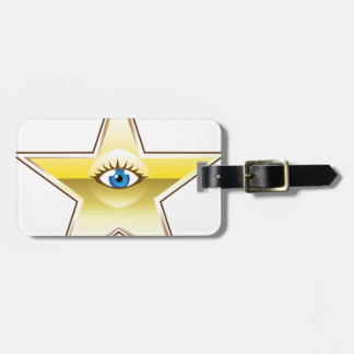 Golden Star with an Eye Vector Tag For Luggage