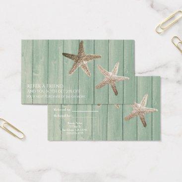 Beach Themed Golden Starfish & Wood Beach Refer a Friend Card