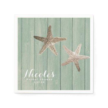 Beach Themed Golden Starfish & Wood Elegant Beach Custom Party Paper Napkin