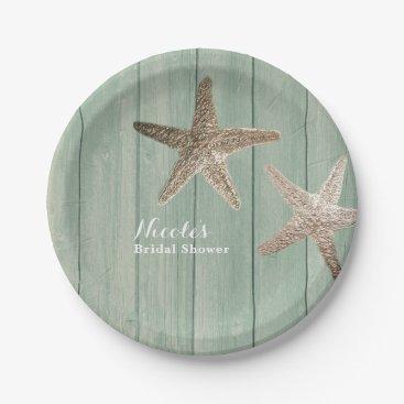 Beach Themed Golden Starfish & Wood Elegant Beach Custom Party Paper Plate