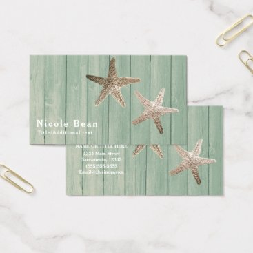 Beach Themed Golden Starfish & Wood Elegant Beach Tropical Chic Business Card