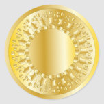 Golden Stars and Circles Round Sticker