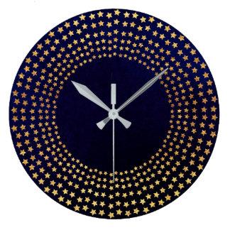 Golden Stars Blue Navy Velvet Contemporary Large Clock