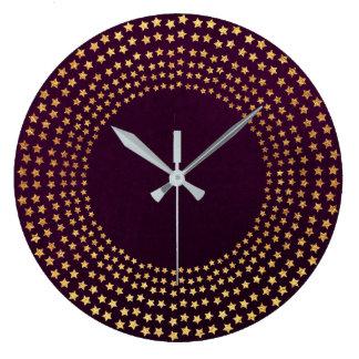 Golden Stars Burgunde Plum Velvet Contemporary Large Clock