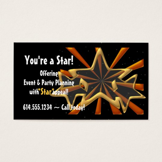 Golden Stars & Copper Beams Party Business Card