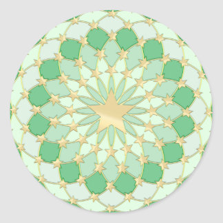 Golden stars expanding circles on pastel green round stickers
