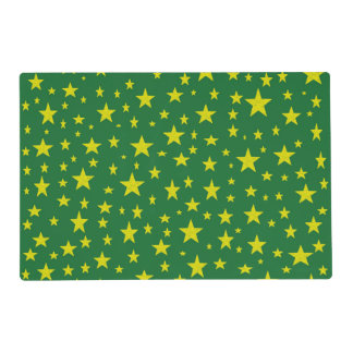 Golden Stars Green Laminated Placemat