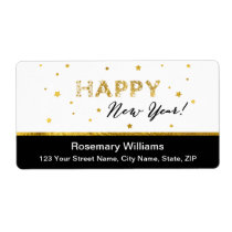 Golden Stars - Happy New Year Shipping Labels
