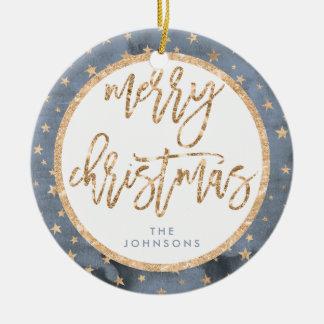 Golden Stars Merry Christmas Ornament Ceramic