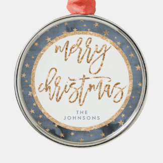 Golden Stars Merry Christmas Ornament Metal
