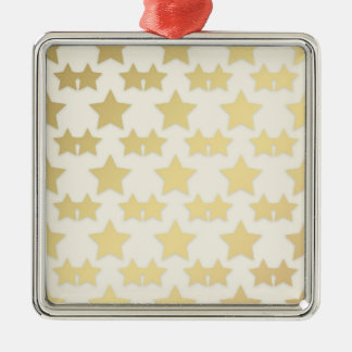 Golden Stars Pattern On A White Background Metal Ornament