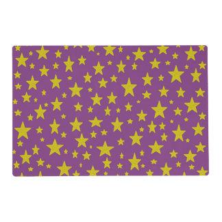 Golden Stars Purple Laminated Placemat