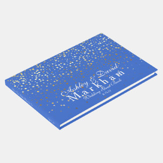 Golden Stars Wedding Guest Book-Royal Blue Guest Book