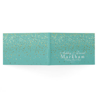 Golden Stars Wedding Guest Book-Washed Teal/Aqua Guest Book