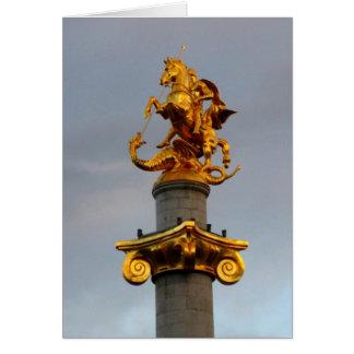 Golden Statue Of Saint George, Republic Of Georgia Card