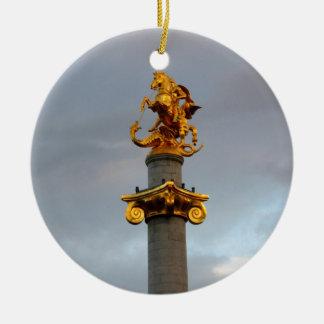 Golden Statue Of Saint George, Republic Of Georgia Ceramic Ornament