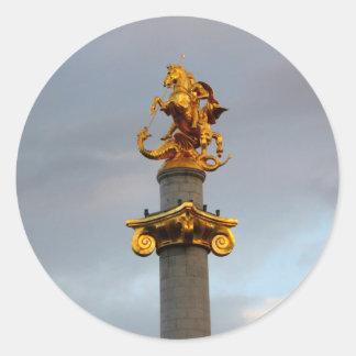 Golden Statue Of Saint George, Republic Of Georgia Classic Round Sticker