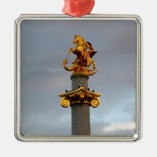 Golden Statue Of Saint George, Republic Of Georgia Metal Ornament
