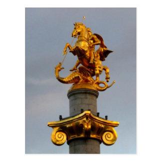 Golden Statue Of Saint George, Republic Of Georgia Postcard