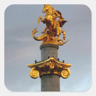 Golden Statue Of Saint George, Republic Of Georgia Square Sticker