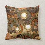 Golden steampunk pillow