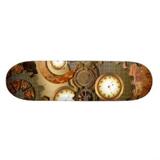 Golden steampunk skateboard deck