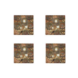 Golden steampunk stone magnet