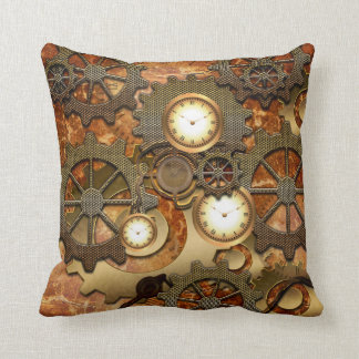 Golden steampunk throw pillow