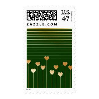 Golden Stem Hearts Green Postage